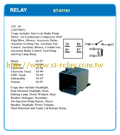 Automotive relay, flasher, switch, sensor, buzzer and connector